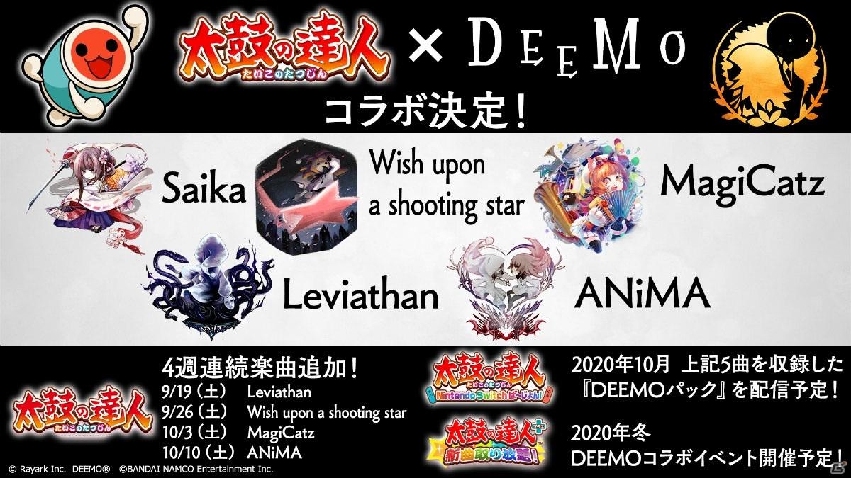 「太鼓の達人」シリーズと「DEEMO」のコラボが発表!AC版では9月19日より4週連続で楽曲が追加